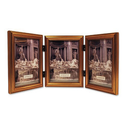 Lawrence Frames - Antique Gold Wood Triple 5x7 Picture Frame - Classic Design - A classic gold color profile that has been complimenting homes for decades.  High quality black velvet backing for vertical tabletop display. Hand finished 5x7 Hinged Triple picture frame is made with exceptional workmanship and comes individually boxed.
