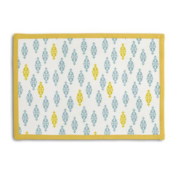 Aqua & Yellow Mini Emblem Tailored Placemat Set - Class up your table's act with a set of Tailored Placemats finished with a contemporary contrast border. So pretty you'll want to leave them out well beyond dinner time! We love it in this small indian boteh motif in bright aqua & mustard yellow on white cotton for a modern meets eclectic accent.