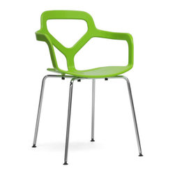 "Slice of Lime Plastic Chairs - Set of 2 - It's nice to have something bright and cheerful in the home year-round. These Slice of Lime Plastic Chairs brings the ""happy"" back into any home no matter how cold it gets outside. Green molded plastic seats make for a comfortable seated experience and non-marking feet and chrome-plated steel legs stabilize the set of dining chairs. Stackable and easy to store, simply wipe the seat with a damp cloth for maintenance."