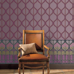 Art Deco Wallpaper - Penrith Aubergine by Blue Mountain - Art Deco Wallpaper from the Shand Kydd collection via Blue Mountain Wallcoverings. Pictured here is Penrith Aubergine and Coniston.
