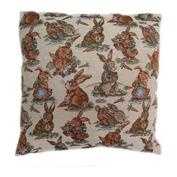 American Mills - Rabbits 24-Inch Floor Pillow - -Update your home decor with this decoratively functional floor pillow.  Comfortable pillow is ideal for floor, sofa or bed.  Spot Clean Only.  Made in USA. American Mills - 35744.998
