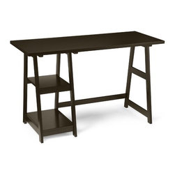"""Convenience Concepts - Trestle Writing Desk - Features: -Writing desk.-Made of solid wood.-Contemporary style.-Convenient side shelving.-Plenty of space for computer components.-Fits easy with any decor.-Includes easy to follow set up instructions.-Includes all tools and hardware required for assembly.-Distressed: No.-Desk Type: Computer Desk; Writing Desk.-Top Finish: Espresso.-Base Finish: Espresso.-Accent Finish: Espresso.-Powder Coated Finish: No.-Gloss Finish: No.-UV Finish: No.-Top Material : Manufactured Wood.-Base Material: Manufactured Wood.-Hardware Material: Steel.-Edge Detail: No.-Number of Items Included: 1.-Non-Toxic: Yes.-Water Resistant: No.-Stain Resistant: Yes.-Heat Resistant: No.-Style: Contemporary.-Design: Standard Desk.-Hardware Finish: SILVER.-Collection: Designs 2 Go.-Eco-Friendly: Yes.-Cable Management: No.-Keyboard Tray: No.-Height Adjustable: No.-Drawers Included: No.-Pencil Drawer: No.-Jewelry Tray: No.-Exterior Shelving : Yes -Number of Exterior Shelves: 2.-Adjustable Exterior Shelving: No..-Cabinets Included: No.-Ergonomic Design: Yes.-Handedness: Both.-Scratch Resistant: Yes.-Chair Included: No.-Legs Included: Yes -Number of Legs: 4.-Leg Material: Wood; Manufactured Wood.-Leg Glides: No..-Casters Included: No.-Hutch Included: No.-Treadmill Included: No.-Cork Back Panel: No.-Modesty Panel : No.-CPU Storage: No.-Built In Outlet: No.-Built In Surge Protector: No.-Light Included: No.-Finished Back: No.-Tipping Prevention: No.-Modular: No.-Lifestage: Teen; Adult.-Application: Home Office.-Commercial Use: No.-Weight Capacity: 40 lbs.-Solid Wood Construction: No.-Wood Tone: Dark Wood.-Swatch Available: No.-Recycled Content: No.Dimensions: -Overall dimensions: 29'' H x 47'' W x 20'' D.-Overall Product Weight: 42 lbs.-Overall Height - Top to Bottom: 29.125"""".-Overall Width - Side to Side: 47"""".-Overall Depth - Front to Back: 20"""".-Shelving: Yes.-Desktop Height: 29.125"""".-Desktop Width - Side to Side: 47"""".-Desktop Depth - Front to Back: 20"""".-Knee Sp"""