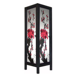"Oriental-Decor - Large 20"" Quiet Sakura Lamp - One of our prettiest Asian decorative lamps, this 20 inch tall paper lamp features a popular sakura blossom design on all four panels. This lamp is ideal for placing on the floor and will create an instant Asian decorative look in any spot. The soft glow of this lantern and the beautiful design will serve to provide a charming atmosphere and soft light to your bedroom, living room, den or office. Everything is included-a 110-volt electrical chord, socket and switch, and 40w bulb. Some assembly required."
