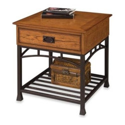 Home Styles - Home Styles Modern Craftsman End Table in Oak - Discover a successful formula of form and function in the Home Styles Modern Craftsman distressed oak end table. This contemporary interpretation of American Craftsman style reflects the simplicity and charm of that era.