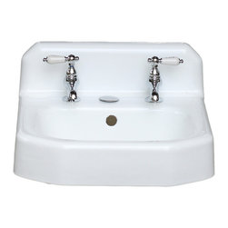Consigned Refinished Mid Century Modern Wall Mount Cast Iron 1953 Bathroom Sink - Mid Century Modern Apron Wall Mount Cast Iron 1953 Kohler Bathroom Sink Refinished in Bright White w/New Faucet