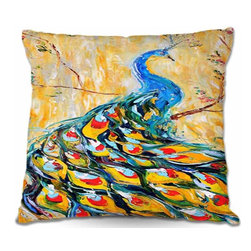 DiaNoche Designs - Pillow Linen - Luminous Peacock I - Add a little texture and style to your decor with our Woven Linen throw pillows. The material has a smooth boxy weave and each pillow is machine loomed, then printed and sewn in the USA.  100% smooth poly with cushy supportive pillow insert with a hidden zip closure. Dye Sublimation printing adheres the ink to the material for long life and durability. Double Sided Print, machine wash upon arrival for maximum softness. Product may vary slightly from image.