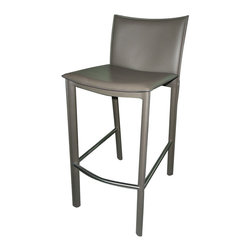 Moe's Home Collection - Moe's Home Panca Barstool in Charcoal (Set of 2) - Comfortable stool with clean lines and made from durable stainless steel and regenerated leather.