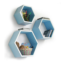 Blancho Bedding - [Blue Elf] Hexagon Leather Wall Shelf / Bookshelf / Floating Shelf (Set of 3) - These beautifully Hexagonal Shaped Wall Shelves display the art of woodworking and add a refreshing element to your home. Versatile in design, these leather wall shelves come in various colors and patterns. These elegant pieces of wall decor can be used for various purposes. It is ideal for displaying keepsakes, books, CDs, photo frames and so much more. Install as shown or you may separate the shelves to create a layout that suits your taste and your style. They spice up your home's decor, and create a multifunctional storage unit for all around your home. Each box serves as a practical shelf, as well as a great wall decoration.