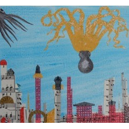 7 Visitors Fly In To Town (Original) by Mickey Bond - An octopus and two squid cruise over an imagined sky scape.  Four shells accompany them.  A lyrical mixed media painting depicting an imaginary world where flight is open to many life forms.