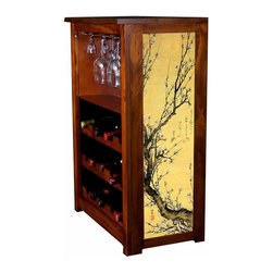 "Kelseys Collection - Wine Cabinet 15 bottle Flowering Plum by Hiroshige - Wine Cabinet stores fifteen wine bottles and glassware with  artwork by Hokkusai called ""Flowering Plum"" giclee-printed on canvas side panels. The frame, top, and racks are solid New Zealand radiata pine with a hand stained and hand rubbed medium reddish brown finish, which is then protected with a lacquer coat and top coat. The art is giclee printed on canvas with three coats of UV inhibitor to protect against sunlight, extending the life of the art. The canvas is then glued onto panels and inserted into the frames."
