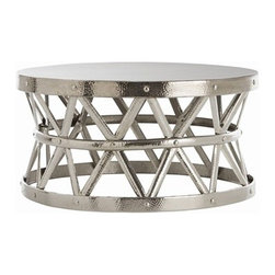 Stanley Costello Cocktail Table by Arteriors Home - This hammered iron cocktail table with rivet construction and polished nickel finish, is a go anywhere piece. The Diamond pattern created by the metal bands is both structural and decorative.