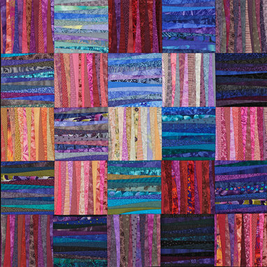 """Available work - Each dawn has its own color and feel but together the sum is woven into the overall concept that we think of as dawn. This quilt is a quilt that refers to the fact that we think of traditional work being pieced in blocks. This makes the quilt both contemporary and traditional at the same time. 45 x 45"""" Photography by John Polak. Custom orders welcome."""