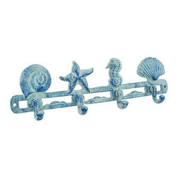 Blue Cast Iron Beach Themed Wall Hooks - These cast iron wall hooks are a great addition to beach themed home decor. The piece measures 13 1/2 inches long, 4 1/2 inches tall, and 1 1/2 inches deep. There are 4 hooks for hanging hats, jackets, dog leashes, or bags, or mount them in the bathroom to hang up wet bathing suits and towels. It is a functional, decorative accent that is sure to be appreciated, and it makes a great gift.