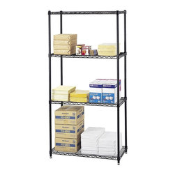 Safco - Commercial Wire Shelving Unit in Black - Three open wire shelves. Four posts. Shelf clips. Adjustable leveling feet with plastic caps. Durable powder coat finish resists wear. Material Thickness: 10 ga. (shelf surface), 3 ga. (frame), 16 ga. (post), 6 ga. (wave pattern). Shelf adjusts in 1 in. increments. 500 lbs. evenly distributed shelf carrying capacity. 2000 lbs. evenly distributed overall carrying capacity. GREENGUARD Certified. Made from steel. 36 in. W x 18 in. D x 72 in. H (47 lbs.). Assembly InstructionGet wired! With Wire Shelving you're sure to get the storage space you need. These shelves are designed to get your office organized and keep it that way. Easily store office supplies, break room supplies, paper, marketing materials and other supplies so they are easy to find and incur no damage. Great for your supply room, storage area, mail room, warehouse, storage closet, garage area or even a classroom, assembly area or production area. Get storage where you need it, and always be able to find what you're looking for!