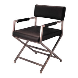 Great Deal Furniture - Rocklin Black Leather Armchair - The Rocklin Black Leather Armchair provides modern style with simple comfort. Black leather and stainless steel frame make it ideal for any modern interior.
