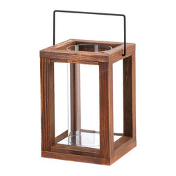 KOOLEKOO - Garden Wooden Lantern, Rustic - Let the country charm shine! This rustic and stunning candle lamp features a wood frame that holds a tall clear glass cylinder inside. Place the candle of your choice inside the cylinder and enjoy the warm glow indoors or out.
