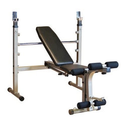 Best Fitness Olympic Bench with Leg Developer - Strengthen your chest with flat bench press exercises and build upper pectorals with incline routinesPerform shoulder incline and flat bench presses on one benchMultiple flat and incline adjustments controlled with quick-change safety-pull pinFits both 6- and 7-foot weight barsAttached leg curl/developer extension with standard plate holderSturdy steel frame with long-lasting powder-coated finishFold-up design and small footprint save spaceDimensions: 58L x 68W x 41H inchesManufacturer's warranty included - see Product Guarantee area for complete detailsAbout Body SolidBody Solid has been making high-quality strength training and exercise equipment for over 20 years. Designed for today's workouts Body Solid machines feature innovative technology and distinctive styling that suits your home. Body Solid equipment meets the challenges of today's busy lifestyle while providing you with the utmost in advanced home exercise. From space-saving designs that suit any room to full-sized gym systems with every available station Body Solid gives you the features you want at a price you can afford. All components of all machines are covered by a lifetime manufacturer's warranty; something you won't find from any other manufacturer in the industry.