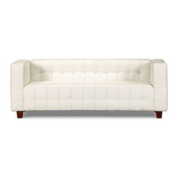 ZUO MODERN - Button Sofa White - With sophisticated ribbing and button pattern, the appropriately named Button series has all leather seating surfaces with leatherette back and sides and solid wood legs.