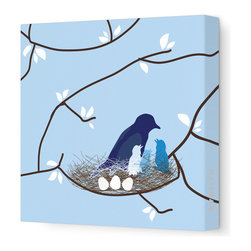 """Avalisa - Imagination - Bird Nest Stretched Wall Art, 18"""" x 18"""", Blue - This endearing work of art will brighten your walls and warm your heart. Each piece is printed on fabric and applied to stretchers for a straight-from-the-gallery look. It would make a wonderful addition to a child's room or nursery."""