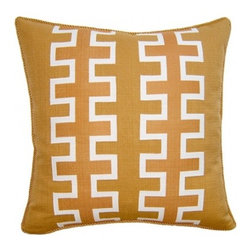 Squarefeathers - Exotic, Maze Double Stripe Pillow - The Exotic Collection is perfect for a large room with multiple furniture pieces. The brown tone color scheme is neutral for open areas. Made of faux line print design applique with a gold rope trim. It has a soft and pump feataher/down insert inclosed with a zipper. Like all of our products, this pillow is handmade, made to order exclusively in our studio right here in the USA.