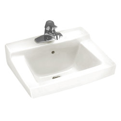 "American Standard - American Standard 0321.075.020 Declyn Wall-Mount Sink, White - American Standard 0321.075.020 Declyn Wall-Mount Sink, White. This wall-hung lavatory sink is designed with a vitreous china construction, and comes with a rear overflow, concealed arm supports, a soap depression, and a faucet ledge. This model comes with 4"" centered faucet mounting holes, and it measures 18-1/2"" by 17"", with a 6"" bowl depth."