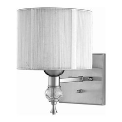 World Imports - Bayonne 1 Light Wall Sconce in Brushed Nickel - Manufacturer SKU: WI826137. Bulbs not included. Chic and modern. Transitional style. Features silver string lined shades and crackled glass balls. Brushed Nickel. Bayonne Collection. 1 Light. Power: 75w. Type of bulb: Medium (Regular). Brushed Nickel finish. 10 in. Ext.. Back Plate 5 in. D x 5 in. H. 8 in. W x 10.5 in. H (2.42 lbs.)