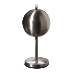 Stainless Steel Globe Table Torch - It's not always easy to find affordable modern torches. This glove sits on its own stand and has slick, clean stainless steel lines. It would fit in well with a contemporary outdoor living area.