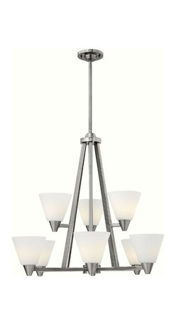 """Hinkley Lighting - 3668BN Hinkley Lighting Dillon - tched Opal Glass Shade. Durable Steel Construction. Height: 26.75"""". Width: 29.25"""". Canopy Width: 5"""". Wire Length: 120"""". Voltage: 120. UL Listed for Dry Locations. Dillons contemporary, stem hung design features a floating cast double ring intersection as the centerpiece. Hinkley is continually recommended by interior and exterior designers, and is available to you through premier lighting showrooms across the country. We pride ourselves in delivering superior customer service that is second to none. Each collection is available in a wide range of sizes and designs from elegant and traditional to sleek and contemporary. Hinkley Lighting began in 1922 as a small family lighting company and has evolved into one of the most respected lighting brands in the industry."""