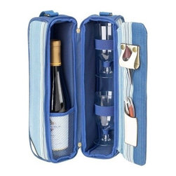 Picnic at Ascot - Aegean Wine carrier for Two, Blue Stripe/Denim by Picnic at Ascot - Our Aegean Wine carrier for Two in Blue Stripe/Denim by Picnic at Ascot is a top quality deluxe wine holder with glasses featuring state of the art Thermal Shield insulation to maintain wine at the perfect temperature. The glass compartment can be used to hold a second bottle.