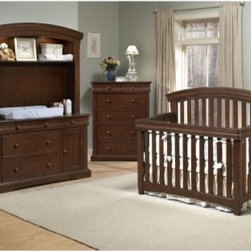 Westwood Stratton 4-in-1 Convertible Crib Collection - The must-have centerpiece to any nursery is a crib, and the Westwood Stratton Convertible Crib makes a wise investment. Constructed of hardwoods and veneers, as are all pieces in this collection, this crib and its coordinating pieces are available in Virginia Cherry and Chocolate Mist finishes. The stationary design of the crib makes it extra sturdy, and the mattress lowers as your baby begins to sit and eventually stand. When baby is tall enough to climb out of the crib, it's time to make the conversion to the toddler bed. Simply remove the front crib rail and replace it with the smaller safety rail. Eventually, you can remove the safety rail and your toddler can enjoy the day bed style. Finally, when they're ready for a big-boy or girl bed, use the original front and back panels of the crib as head and footboards for a full-size bed (bed rails not included).All pieces in the Westwood Stratton Convertible Crib Collection are scaled to be equally comfortable in a nursery or a teen's room. We offer this collection in a variation of components so you can build the nursery that best fits your space and your needs. The optional Westwood Stratton 6-Drawer Chest offers six drawers perfect for organizing kids of any age. There are four large drawers topped off by two small drawers. All drawers have dovetail construction for extra strength, and slide smoothly on concealed ball bearing glides. The top portion of this chest features careful curves for added interest in shape.The optional Westwood Stratton Combo Unit features two large drawers and one large cabinet for storing baby's bulkier items like diapers, clothes and toys. Three smaller top drawers are perfect for lotions, ointments and medicines. The top side drawers swing outward, making them more accessible and allowing you to stay closer to your baby. The combo unit also features a 3-sided safety rail to prevent baby from roll off. Of course, babies should never 