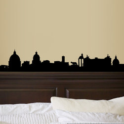 Rome Italy Skyline Vinyl Wall Decal or Car Sticker SS111EY; 120 in. - THE DEFAULT COLOR OF THE DECAL IS BLACK.
