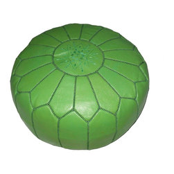 Contemporary Handcrafted Imported Genuine-Leather Ottoman, Pistachio - This pouf is such a pretty color.