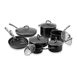 Calphalon - Simply Calphalon Black Enamel Nonstick 14-Piece Cookware Set - Simply Calphalon nonstick cookware features Calphalon's signature aluminum construction for excellent conductivity and even heating along the bottom and sides of the pan.