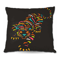 DiaNoche Designs - Pillow Woven Poplin - Tiger Brown - Toss this decorative pillow on any bed, sofa or chair, and add personality to your chic and stylish decor. Lay your head against your new art and relax! Made of woven Poly-Poplin.  Includes a cushy supportive pillow insert, zipped inside. Dye Sublimation printing adheres the ink to the material for long life and durability. Double Sided Print, Machine Washable, Product may vary slightly from image.