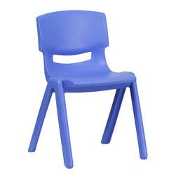 Flash Furniture - Flash Furniture Blue Plastic Stackable School Chair with 13.25'' Seat Height - This chair is the perfect size for Kindergarten to 2nd Grade sized children. Having young children sit in a chair that is designed for them is important in developing proper sitting habits that will last them a lifetime. Not only are these chairs designed properly, but they are lightweight so kids can feel independent by moving the chairs themselves.