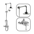 """Hudson Reed - Traditional Thermostatic Shower System With Rose Head, Grand Riser and Handset - This product comes with everything as pictured: A traditional exposed thermostatic shower valve, a rigid riser with a diverter for the handshower and an 8"""" shower rose head."""