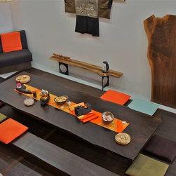 TEA - Community tea table and bench set.