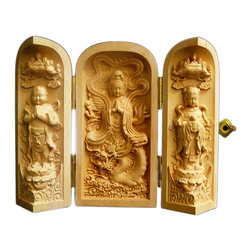 Golden Lotus - Chinese Folding Wood Carved Buddha Display Figure Hcs603-3 - This is a wooden carved small Buddha display figure which can be folded or opened with three statue figures relief carving inside.