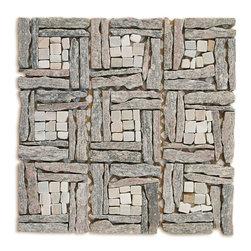 Basket Wave Natural Stone Landscape Mosaic Blend. Sold By The Box 10 Sheets - Basket Wave Natural Stone Landscape Mosaic Blend