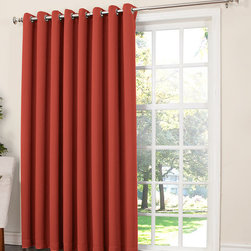 Sun Zero - Brick Gramercy Patio Room Darkening Grommet Panel - Use a detachable wand to easily cover the width of your patio doors in rich color while saving energy and filtering outside light and noise in style.   Includes one panel Grommet 100% polyester Machine wash Imported