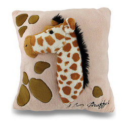 Zeckos - I Love Giraffes Soft Fuzzy Textured Beige 2D Stuffed Giraffe Throw Pillow 14 in. - This beige super soft 100% polyester throw pillow features a raised 2D image of a long necked giraffe, a fuzzy textured surface and measures 14 inches long by 14 inches wide (36 x 36 cm). It's perfect in a nursery, tossed on the bed and is great for cuddling with while watching your favorite movie or reading a book. It makes a wonderful gift for any giraffe fans, moms to be or just to have something soft around for yourself!