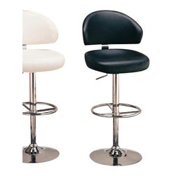 Coaster - Adjustable Bar Stool (White) By Coaster - This White Barstool In Modern Style features ultra comfortable seating and back. Upholstered in durable leather like vinyl.This item will make a great addition to your home. Features:Adjustable height seatingDurable steel constructionHigh polished chrome finish Upholstered in vinyl. Dimensions: White Barstool (Coaster 120343) 21x21x16