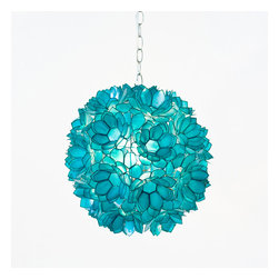 """Worlds Away Capiz Shell Floral Venus Pendant, Turquoise - 15""""dia pink lotus capiz pendant with single 60w socket. Comes with 3' chrome chain and canopy. Also available in brown, natural, gold and turqouise."""