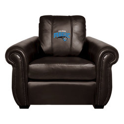 Dreamseat Inc. - Orlando Magic NBA Chesapeake Black Leather Arm Chair - Check out this Awesome Arm Chair. It's the ultimate in traditional styled home leather furniture, and it's one of the coolest things we've ever seen. This is unbelievably comfortable - once you're in it, you won't want to get up. Features a zip-in-zip-out logo panel embroidered with 70,000 stitches. Converts from a solid color to custom-logo furniture in seconds - perfect for a shared or multi-purpose room. Root for several teams? Simply swap the panels out when the seasons change. This is a true statement piece that is perfect for your Man Cave, Game Room, basement or garage.