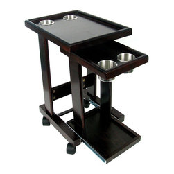 Trademark Global - Solid Wood Slide Out Drink Cart in Mahogany F - A slide-out tray and a castered base make this solid wood drink cart a perfect addition to your game room. The cart features four built-in cup holders and is a perfect way to protect your poker table from spills while still enjoying refreshments during the tournament or game. 4 Cup holders. 360 Degree rotating wheels. Can be used in between seats in vans also. Made of solid wood. Mahogany finish. Minimal assembly required. 17 in. L x 13 in. W x 23.50 in. HThis Mahogany Finish Drink Cart is just like the ones you see in the poker rooms around the world. Take the drinks off your poker table and place them this cart. Slide out the bottom layer to reveal two more cup holders for back-up! Securely fits your favorite standard sized canned or bottled beverage! The casters make it easy to roll to wherever you would like.