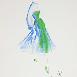 1950s Blue & Green Fashion Drawing by Gibson Bayh