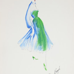Lost Art Salon - 1950s Blue & Green Original Fashion Drawing by Gibson Bayh - Dress your space with the glamour of designer Gibson Bayh (1917-2007). This original gouache and ink drawing represents the timeless styling and dramatic flair that made the designer famous in the 1950s.