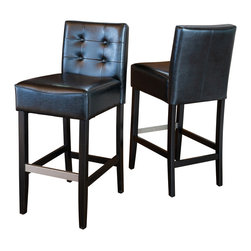 Great Deal Furniture - Gregory Black Leather Back Stool (Set of 2), Black Bar Height - These comfortably soft Gregory leather bar stools are a perfect transitional piece from your kitchen to your living room. Place them in your kitchen, bar or dining room and you will enjoy the look and feel of these stools.