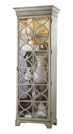 Hooker Furniture - Melange Celeste Display Cabinet - Concentric circles bring a relaxing harmony to the Celeste Display Cabinet.  One glass door with five adjustable shelves behind, three shelves are wood-framed glass shelves, two shelves are wood.  One light.