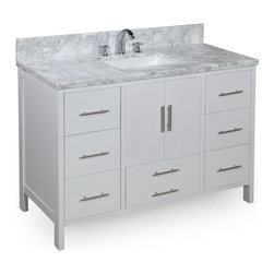 Kitchen Bath Collection - California 48-in Bath Vanity (Carrara/White) - This bathroom vanity set by Kitchen Bath Collection includes a white cabinet, soft close drawers, self-closing door hinges, double thick Italian Carrara marble countertop (an incredible 1.5 inches thick at the edge!), undermount ceramic sink, pop-up drain, and P-trap. Order now and we will include the pictured three-hole faucet and a matching backsplash as a free gift! All vanities come fully assembled by the manufacturer, with countertop & sink pre-installed.